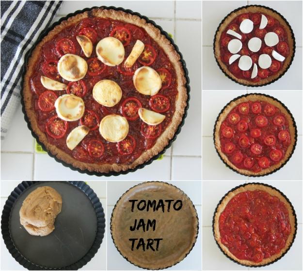 טארט ריבת עגבניות וגבינת עיזים בשישה שלבים (שלב אחד שיחק אותה קשה להשגה ולא הצטלם טוב...)